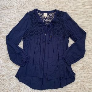 Knox Rose boho navy blouse tassel lace top shirt
